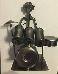 Drummer Figure With Metal Nuts And Wahsers Figurine