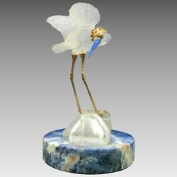 A Vintage Frosted Baccarat Glass Style Stork Figurine France 20th Century