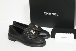 Sz 38 Black Quilted Flap Turnlock Cc Logo Mule Slip On Flat Loafer Shoes
