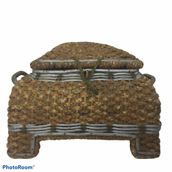 Reed Wicker Antique Sewing Basket Tufted Silk Lining Antique Germany 10 X 10