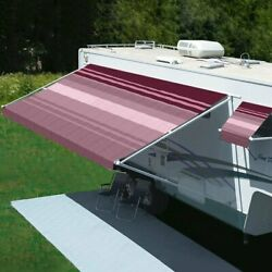 Rv Patio Awning Freedom 8and039w X 6and039ext. Vinyl Striped Bordeaux Manual Rv Patio