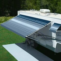 Rv Patio Awning Freedom 8and039w X 6and039ext. Vinyl Striped Ocean Blue Manual Rv Patio