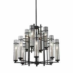 Feiss Ethan 12 Light Antique Forged Iron / Brushed Steel Brown