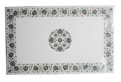 4and039x2and039 White Marble Rectangle Table Top Floral Art Inlay Kitchen Home Decor W243b