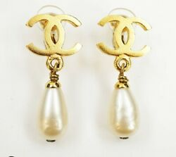 Authentic Vintage Womenand039s Pair Earrings Drop Pearl Gold J