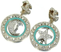 Authentic Vintage Womenand039s Pair Earrings Moon And Star Rhinestone Gold J