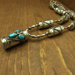 Sterling Silver And Turquoise Handmade Drum Bead Necklace