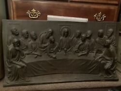 Incredible Heavy Antique Bronze Dimensional Last Supper Wall Plaque Signed