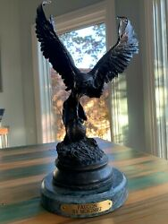 Bronze Falcon Statue By Jules Moigniez A.s.b 1992 15 Tall Very Heavy