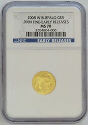 2008 W Gold Usa 5 Buffalo 1/10 Oz Coin Ngc Mint State 70 Early Releases