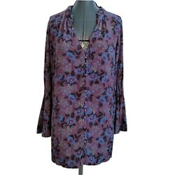 Free People Peasant Poet Top Shirt M Floral Bell Sleeve Purple Flowy Button Plum