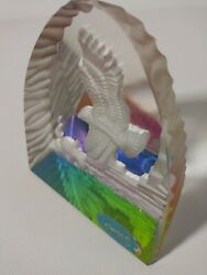 Rare Goebel Crystal Glass Clear Frosted Eagle Bird Prism Paperweight