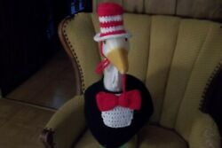 Cat In The Hat Geese Outfit Crochet Geese Clothes Outdoor Statue Dress