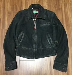 Rare 1930s Lvc Menlo Leather Jacket Black Motorcycle Made In Italy Size S