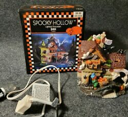Spooky Hollow Haunted Inn Lighted Halloween House W/ Box And Light L8