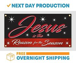 Jesus Is The Reason For The Season Vinyl Banner Sign - Free Overnight Shipping