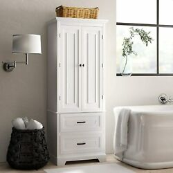 Bathroom Linen/towel Storage Cabinet Tall Wooden Organizer 24and039and039 Wx 62and039and039 H X 16and039d