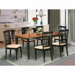 7 Pc Kitchen Set - Dining Table And 6 Chairs In Black And