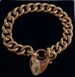 Fine Antique C.1900and039s Curb Bracelet 15ct Rose Gold - Rare - Length 8 Inches
