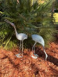 Brass Crane Heron Garden Statues Pair By Spi Home Beautiful Stately ❤️