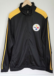 Pittsburgh Steelers Official Nfl Football Track Jersey Coat Jacket Sz Large Euc