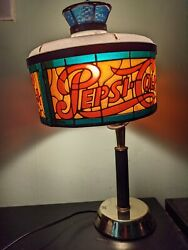 Vintage Pepsi Cola Stained Glass Lamp 18 Tall Plastic Lampshade