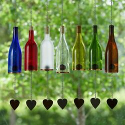 Wind Chimes Made From Glass Wine Bottles With Copper Trim Outdoor