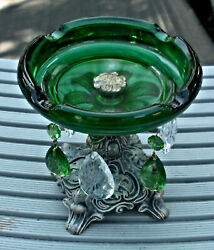 Forest Green Glass Ashtray On Silvertone Metal Stand W/ 6 Crystals Hanging Down