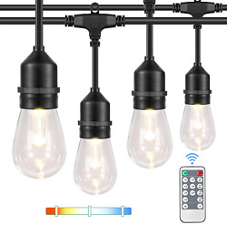 3 Color Dimmable Led Outdoor String Lights With Remotes, 48ft Waterproof Patio