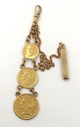 14k Yellow Gold American Coin Watch Fob Chain 10andrdquo Length