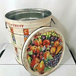 Vintage Harry And David Large Tin With Lid Fruit Bertels Can Co. Storage Usa