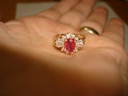 Vintage Collectible 14k Yellow Gold Ruby Rubies Diamond Cocktail Ring Size 5