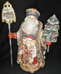 Wow Stunning Russian Hand Painted Scenic Santa Reading A Bedtime Story 3463
