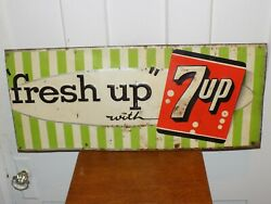 Vintage Fresh Up With 7up Metal Embossed Sign