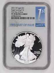 Bullion Silver Eagles 2021 W Ngc Pf-70 Ultra Cameo Eagle Landing T-2 First Day