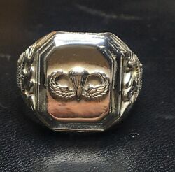 Us Army Airborne Parachutist Jump Wing Used Ring Paratrooper Sz 11 Silver 925