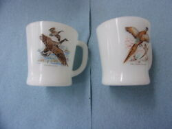 Two Vintage Fire King Milk Glass Goose And Pheasant Coffee Cups/mugs