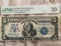 1899 5 Silver Certificate Indian Chief Note Fr-274 Pmg-20