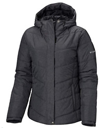 Columbia Womenand039s Mccleary Pass Insulated Hooded Winter Jacket Black Heather Nwt