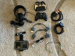 Xbox 360 Wireless Controllers, Keypad, Headphones, Wires And Accesoiries Lot