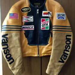 Vanson Special Order Color Star Riders Leather Motorcycle Vintage Black And Yellow