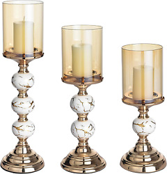 Masmoy Gold Decorative Candle Holder, Pillar Candlestick Holders For Set Of 3, T