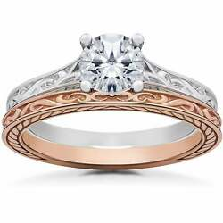 14k White And Rose Gold 1 Ct Vintage Scroll Solitaire Lab