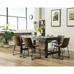 Lotusville 7-pc. Antique Black Dining Table W/ Faux Leather
