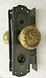 Antique Mortise Y And T Brass Lock Set W/decorative S Knobs, Plates W/twist Lock