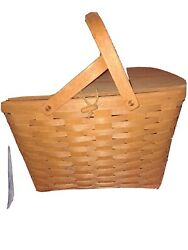 Longaberger Large Picnic Basket With Table And Liner 1996 Handwoven