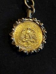 1945 22k Yellow Gold Pendant 2.5 Pesos Mexican Gold Coin 14k Gold Bezel And Chain