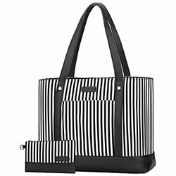 Laptop Tote Bag for Women Water Resistant Canvas Womens Work Tote Bag Black $44.42