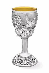 Galmer Silver Company Sterling Silver Water Goblet Rose And Bird