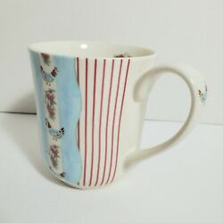 Johnson Bros Coffee Cup Farmhouse Chic Silky Stripe Rooster Blue Red Flowers
